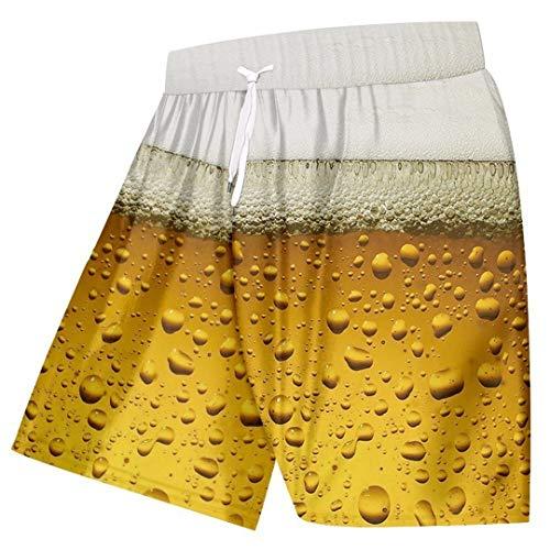Verano de los Hombres Bañador 3D Fresca Cerveza Ocasional d