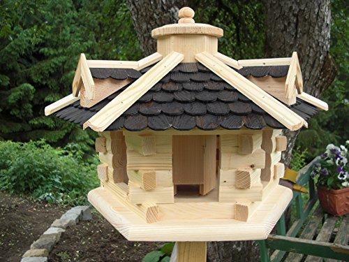 Vogelhaus Vogelhäuser(V31) Vogelfutterhaus Vogelhäuschen-aus Holz-DHL-Schreinerarbeit-Gaube Schwarz Groß