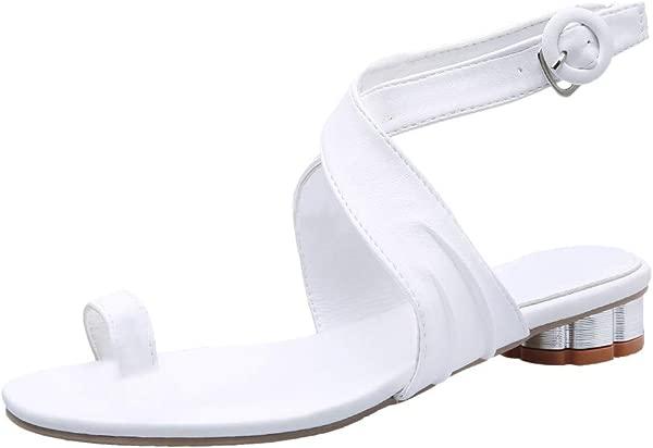Kawaiine 夏季女粗跟凉鞋套趾鞋镂空交叉扣鞋派对婚鞋白色