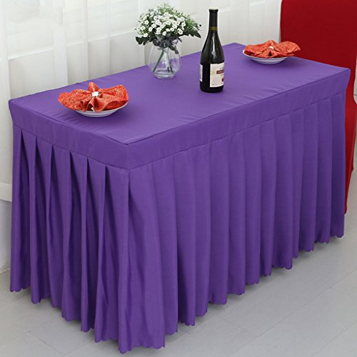 Nappes Fitted Table Skirt Cover Wedding Banquet With Top Topper Nappe-dam Purple ( Couleur : Dark Purple , taille : 40*120*75CM )