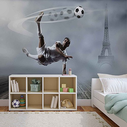 Fußball Spieler Paris - Forwall - Fototapete - Tapete - Fotomural - Mural Wandbild - (2255WM) - XL - 254cm x 184cm - Papier (KEIN VLIES) - 2 Pieces
