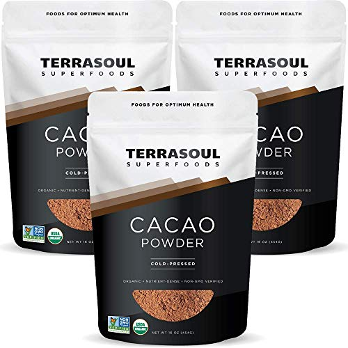 Terrasoul Superfoods Organic Cacao Powder, 3 Lbs (3 Pack) - Raw | Keto | Vegan