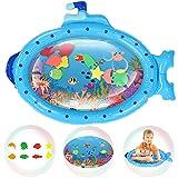 Jeteven Wassermatte Baby, Wasserspielmatte Baby, Baby Spielzeug 3 6 9 Monate, Blau U-Boot Auslaufsichere Baby Wassergefüllte Spielmatte Spielzeuge, für frühe Entwicklung des Säuglings (86x68CM)
