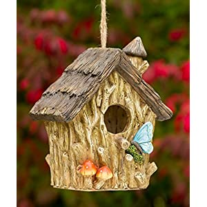 dawhud direct butterfly and mushrooms bungalow decorative hand painted bird house