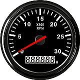 KAOLALI Tacómetro Universal RPM Gauge con Cronómetro 0-3000RPM 85mm 9-32V con Luz de Fondo