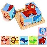 Lewo 6 in 1 Blocco di Animali in Legno Puzzle Grande Cubo Elefante Scimmia Pesce Orso Leone Coccodrillo Blocchi di Modelli con Vassoio di stoccaggio in Legno per Bambini Piccoli Ragazze 2 3 4 Anni