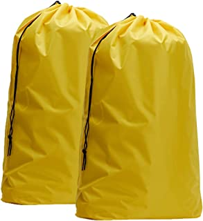 HOMEST 2 Pack Nylon Laundry Bag, 28 x 40 Inches Travel Drawstring Bag, Rip-Stop Large Hamper Liner, Machine Washable, Light Yellow