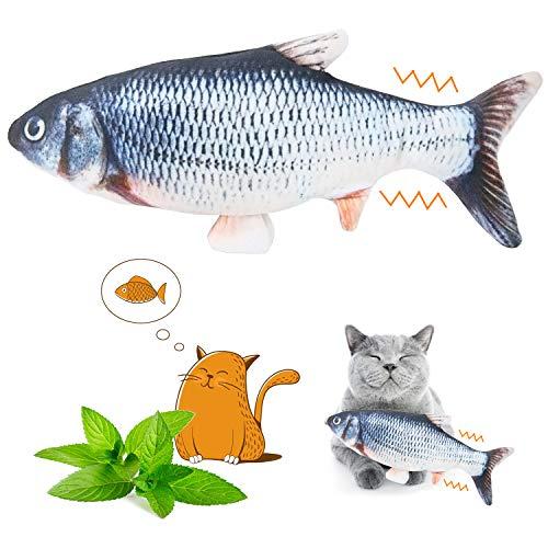 YOUTHINK Juguete Eléctrico de pez Pateador de Gato Móvil con Hierba Gatera, pez Flotante Realista, Muñeca de pez de Peluche Interactivo, Almohada para Mascotas, Suministros para Patadas para M
