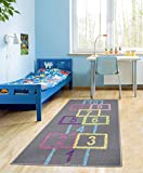 "Ottomanson Children's Garden Collection Educational Hopscotch Design, 2'7"" X 6'0"", Grey"