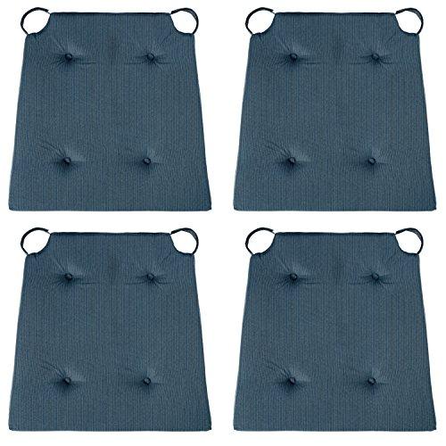 sleepling 4er Set Stuhlkissen/Sitzkissen für Indoor und mit Klettverschluss, Maße: 42 (vorne) / 35 (hinten) x 40 x 5 cm, dunkelblau