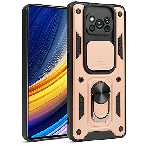 OUJD Funda para Xiaomi Poco X3 Pro/Xiaomi Poco X3 NFC, [Protección de Cámara] Carcasa 360° Giratorio Magnético Soporte de Anillos de Armadura Estuche Militar Armor Híbrida Anti-Choque - Rosa