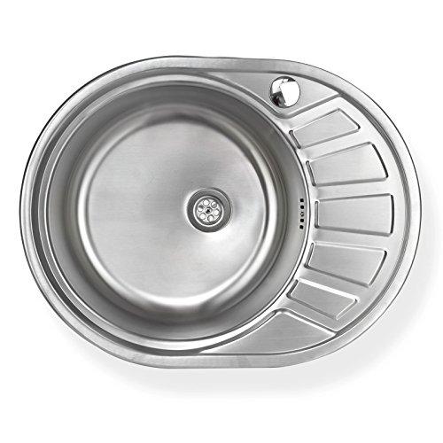 Stabilo-Sanitaer Einbauspüle aus hochwertigem Edelstahl, rundes Spülbecken mit kleiner Abtropffläche rechts, Küchenspüle in schönen und modernen Design