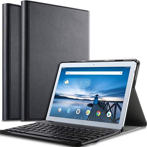 IVSO Tastatur Hülle für Lenovo TAB P10, [QWERTZ Deutsches Layout] Keyboard Hülle, SmartShell Ständer Schutzhülle abnehmbar Wireless Tastatur für Lenovo TAB P10 10 Zoll 2018, Schwarz