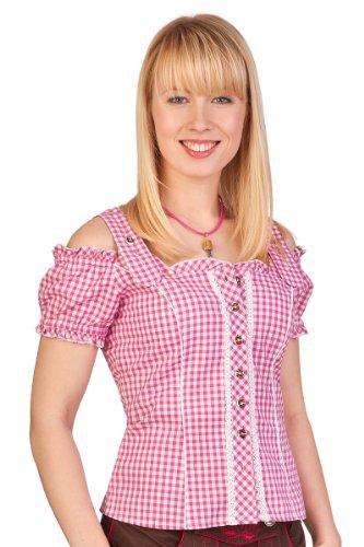 Spieth & Wensky Trachten Bluse - PILLA - Beere, hellblau, Größe 38