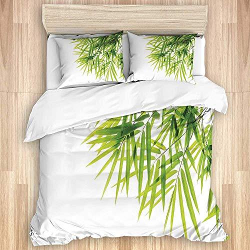 Juego de funda nórdica de 3 piezas, icono de hoja de bambú para el bienestar, salud, pureza fresca y tranquila, impresión artística blanca, edredón de microfibra para dormitorio, juegos de fundas de e