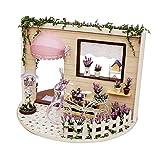Milageto Casa de Muñecas en Miniatura Artesanal con Juego de Plantas Sky Garden Room Cottage Toy