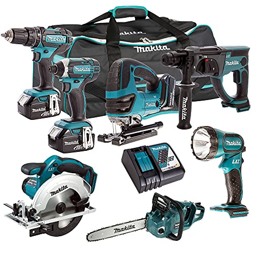 Makita DLX6068PT 18V 6 Piece Kit 3 x 5.0Ah Batteries Charger & Chainsaw