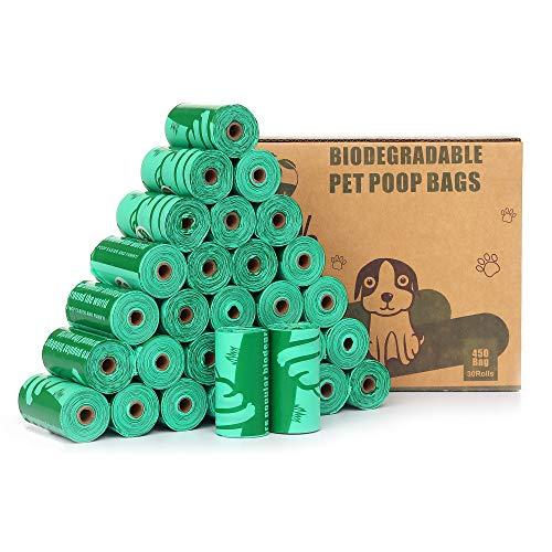 Cycluck 100% kompostierbare 450 Stück Hundekotbeutel Extra Dick Duftend Tropfsichere Reißfest, mit EN13432 und Home Compost Zertifizierungen Hergestellt aus Maisstärke (Grün)