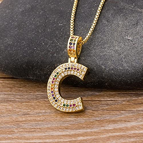 XIAODAN 26 Alphabet Pendant Necklaces Multicolor Copper Zircon Initial Letter Necklaces Couple Name Jewelry Gifts For Women C