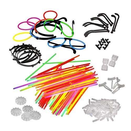 Lot de 100 lampes torsadées avec 100 raccords, 5 paires de lunettes lumineuses, 5 serre-têtes, 2 connecteurs flexibles