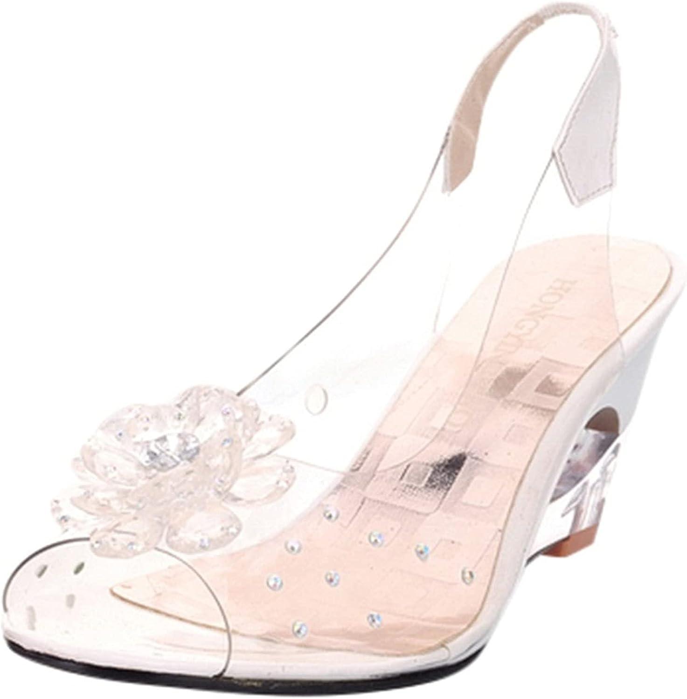 NOKMOPO Women's Sandals Summer Leisure Rhinestone Wedges With Flowers Rhinestone Fish Mouth High Heel Sandals