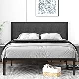 IMUsee Full Size Bed Frame with Upholstered Button Tufted Square Headboard, Heavy Duty Bed Frame with 11