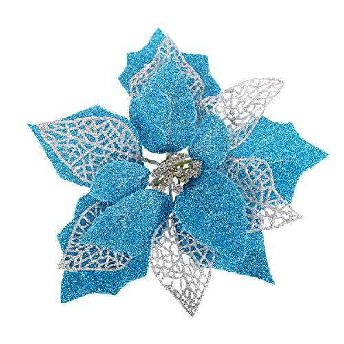 Louiesya (Pack of 12) Glitter Poinsettia Christmas Tree Ornaments,Christmas Decorations Flower (Acid Blue)