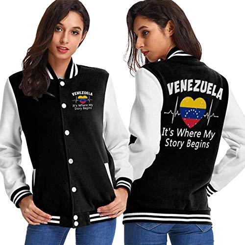 BYYKK Chaquetas Ropa Deportiva Abrigos, Venezuela It's Where My Story Begins Women's Long Sleeve Baseball Jacket Baseball Boyfriend Jacket