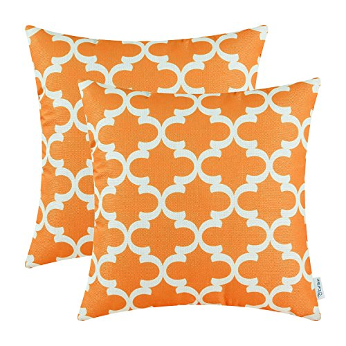 CaliTime Pack of 2 Soft Canvas Throw Pillow Covers Cases for Couch Sofa Home Decor Modern Quatrefoil Accent Geometric 18 X 18 Inches Bright Orange