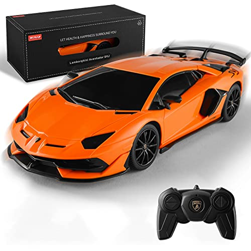 BEZGAR X RASTAR Licensed RC Series, 1:24 Scale Remote Control Car Lamborghini Aventador SVJ Electric Sport Racing Hobby Toy Car Model Vehicle for Boys and Girls Teens and Adults Gift (Orange)