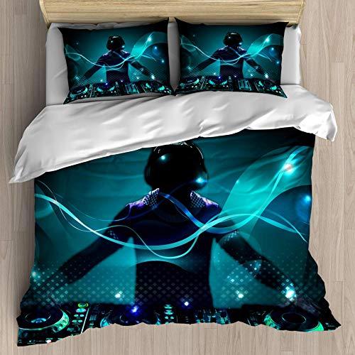 Qinniii DJ Duvet Cover Set Young Headphones DJ Nightlife Entertainment Concepts Equipment, Decorative 3 Piece Bedding Set with 2 Pillow Shams