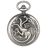 SUZHENA Reloj de Bolsillo Gris Retro Tres Cabezas Dragón Juego de Tronos Tema Reloj de Bolsillo de Cuarzo Artículo Reloj Colgante, 1 Piezas
