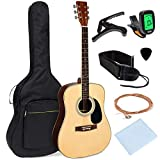 Best Choice Products 41in Full Size Beginner All Wood Acoustic Guitar Starter Set w/Case, Strap, Capo, Strings, Picks, Tuner - Natural