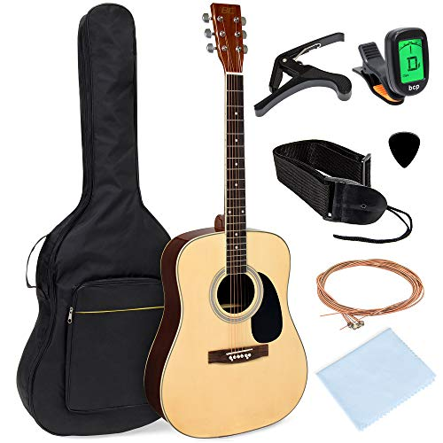 Best Choice Products 41in Full Size All-Wood Acoustic Guitar Starter Kit w/Gig Bag, E-Tuner, Pick, Strap, Rag - Natural