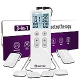 Tens EMS Electroestimulador para Fisioterapia. Estimulación Muscular para el Alivio del Dolor de la Terapia. Electroterapia Recargable Masajeador Dual Electrodos con 6 Almohadillas. (1 Unit)