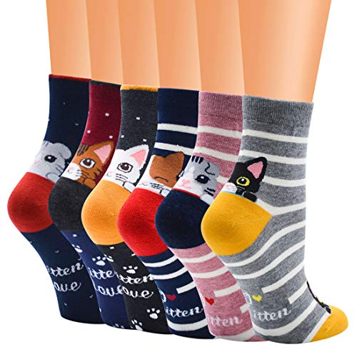 5-6 paar sokken voor dames, katten en honden, originele sokken, cadeau voor dames, mama, meisjes, grote zeemeermin, katoen