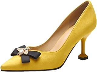 Mofri Women's Fashion Faux Suede Rhinestone Bow Pointed Toe Low Cut Stiletto High Heels Slip On Pumps Shoes