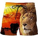 Bañadores Para Hombre Impresión 3D Pantalones Cortos De Hombre León Naranja Animal Hombres Pantalones Cortos De Playa Short Homme 3D Print Quick Dry Drawstring Boardshort Pantalones Cortos De Ent