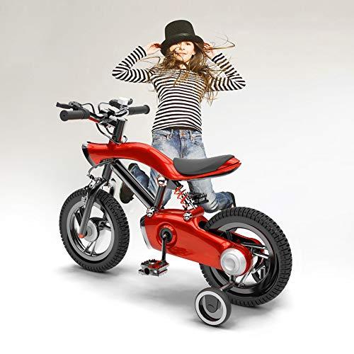 NEWPIN LED verlichting Kinderfiets Meisje fiets met schokdemper veer, Uitgerust met een ergonomische stoel, veiligheidsstuur grepen, stille wielen en schokbestendige poedercoating
