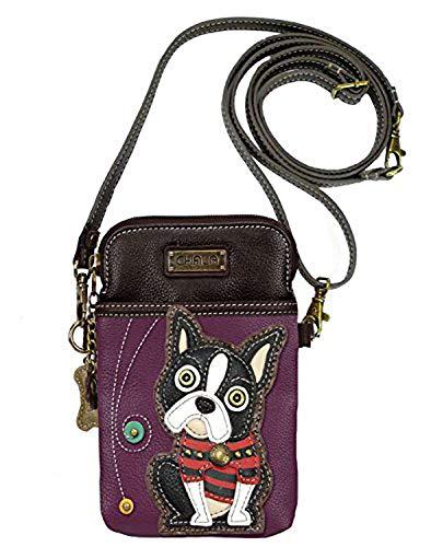 Chala Crossbody Cell Phone Purse-Women PU Leather Multicolor Handbag with Adjustable Strap - Boston Terrier - Purple