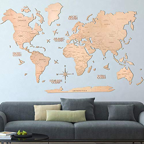Wood World Map Wall Art. Large Wall Decor - Light World Travel Map ALL Sizes (M, L, XL). Any Occasion Gift Idea - Wall Art For Home & Kitchen or Office