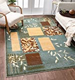 Well Woven Great Forest Blue Floral Nature Modern Formal Area Rug 8x10 8x11 (7'10' x 9'10') Easy to Clean Stain Fade Resistant Shed Free Traditional Transitional Soft Living Dining Room Rug