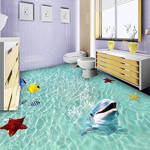 Papel pintado mural personalizado 3D Sea Beach Dolphin Pintura de suelo 3D Azulejos adhesivo PVC Autoadhesivo Papel de pared de baño impermeable 3 D-150x105cm