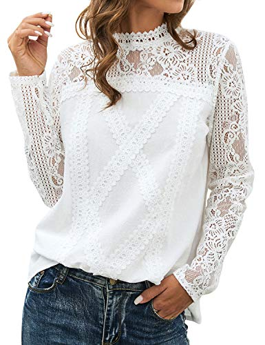 ZXZY Women Cute Lace Blouse Top Short Sleeve Lace Hollow Out Turtle Neck T Shirt (M, Z-Long Sleeve White)