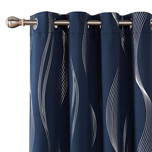 Deconovo Blackout Curtains Wave Striped Foil Print Room Darkening Grommet Blackout Curtain for Bedroom 52x84 Inch Navy Blue 2 Panels