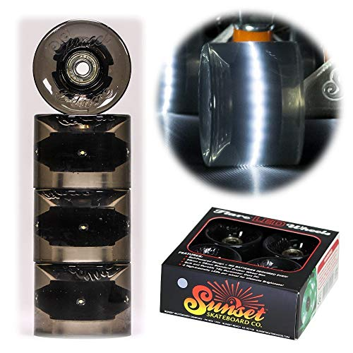 Sunset Skateboard Co. 59mm 78a LED Light-Up Cruiser Wheels (4-Pack) with ABEC-9 Carbon Steel Bearings for Glow-in-The-Dark, All Ages & Skill Levels Skating Fun with No Batteries Required (Smoke)