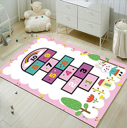 Kinderspielzeugmatte, Cartoon Hopscotch Kaninchen Blumenteppich, Haltbare Kurzflorige Polyester Arbeitszimmer Schlafzimmer Rutschfesten Teppich 50cmx80cm