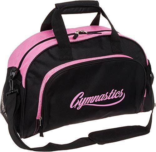 LISH Gemma Gymnastics Duffel Bag - Girl's Travel Sports Gym Bag w/Shoe Compartment (Black/Pink)