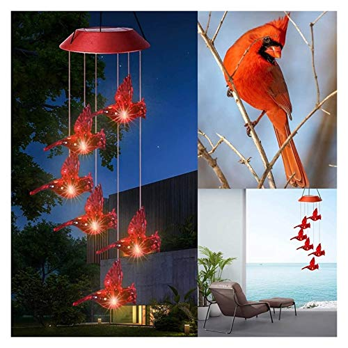 Cardinal Red Bird Wind Chime Lights, Solar Wind Chimes Red Bird Color Changing Waterproof LED Solar Light, Spinners Spiral String Hanging Solar Wind Chimes Hanging Outdoor Garden Decorations