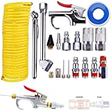 Air Compressor Accessory Kit, Dust Removing Blow Gun with Air Compressor Tool and Nozzle Accessories Kit, Improving Efficiency, for Automotive Repairing, Maintenance, Cleaning 20 PCS Combo Set